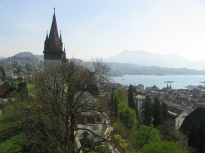 Another shot of Lucerne from above the protective wall built in the 1300's.