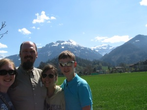 At Interlaken, Switzerland.  Beautiful town.  Reminds us of Banff, Alberta...just more green.