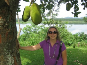 Michelle at a Jack Fruit tree.